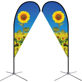 Small Double-Sided Teardrop Flags with Chrome X Base