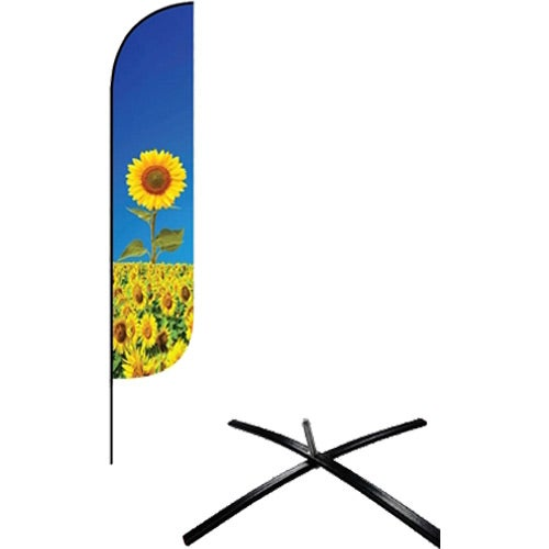 Full Color Imprint Small Feather Flag Premium Single-Sided with Econo X Base and Carry Bag