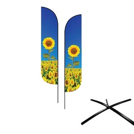 Small Feather Flag Premium Double-Sided with Econo X Base and Carry Bags