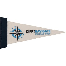 White Felt Pennants with Sewn-On Strip (10