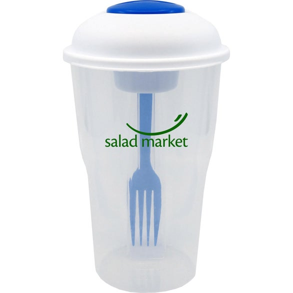 Clear / Blue Salad Shaker with Fork and Dressing Container