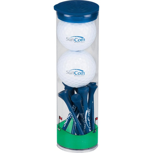 Blue 2 Ball Tall Tube with Pinnacle Rush Golf Balls