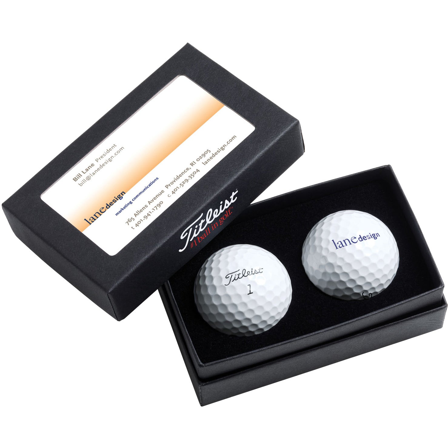 Promotional Titleist 2-Ball Business Card Boxes with Custom Logo for ...