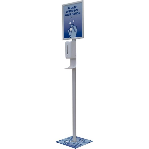 White Deluxe Touch-Free Hand Sanitizer Stand Kit