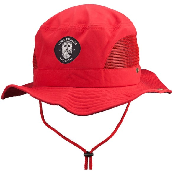 Red Foldable Polyester Bucket Hat with Mesh