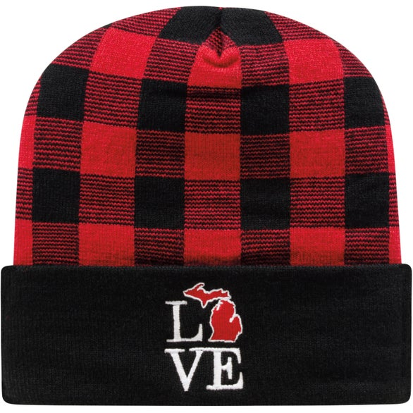 True Red / Black Cap America Plaid Knit Cap with Cuff
