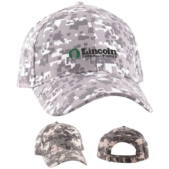 promotional digital camo structured baseball cap with