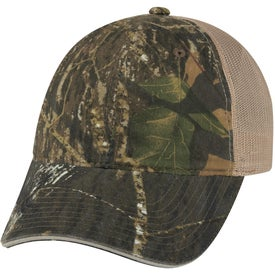 Hunter's Hideaway Mesh Back Camouflage Cap Branded with Your Logo