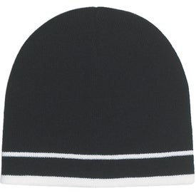 Customizable Knit Beanie with Stripe Imprinted with Your Logo
