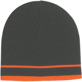Printed Acrylic Knit Beanie with Stripe