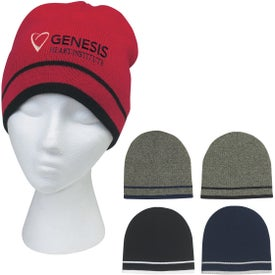 Advertising Customizable Knit Beanie with Stripe