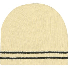 Knit Beanie with Double Stripe Imprinted with Your Logo