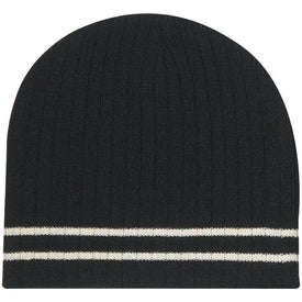 Imprinted Knit Beanie with Double Stripe