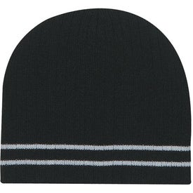Branded Knit Beanie with Double Stripe