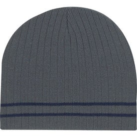 Logo Knit Beanie with Double Stripe