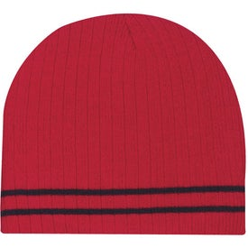 Knit Beanie with Double Stripe with Your Slogan