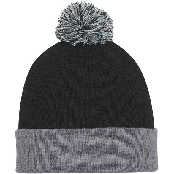 Black / Gray Knit Pom Beanie With Cuff