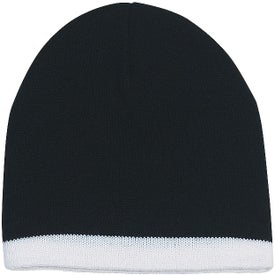 Knit Beanie with Stripe Imprinted with Your Logo