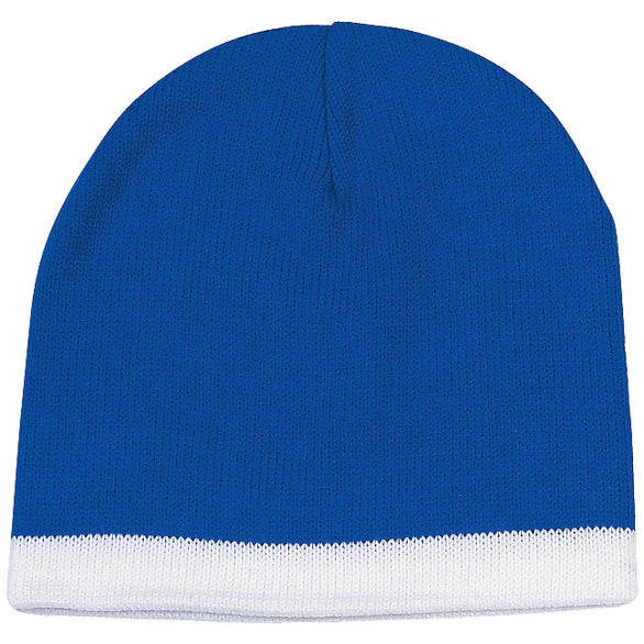 Royal Blue / White Knit Beanie with Stripe