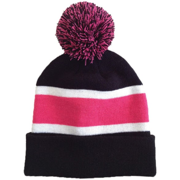 bef649a4b84fc CLICK HERE to Order Striped Beanie with Poms Printed with Your Logo for   11.93 Ea.