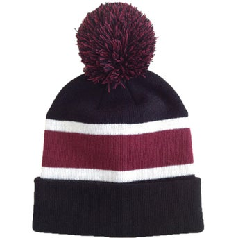 efd305a38 CLICK HERE to Order Striped Beanie with Poms Printed with Your Logo ...