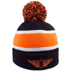 Striped Beanie with Poms (Unisex)