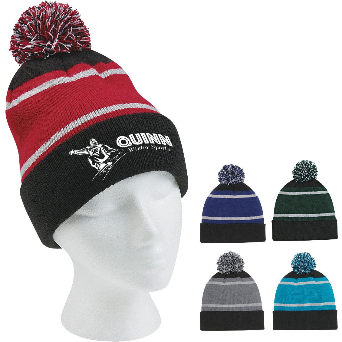 58b8c57c591 Tri-Tone Striped Pom Beanie With Cuff