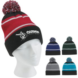 Tri-Tone Striped Pom Beanie With Cuff