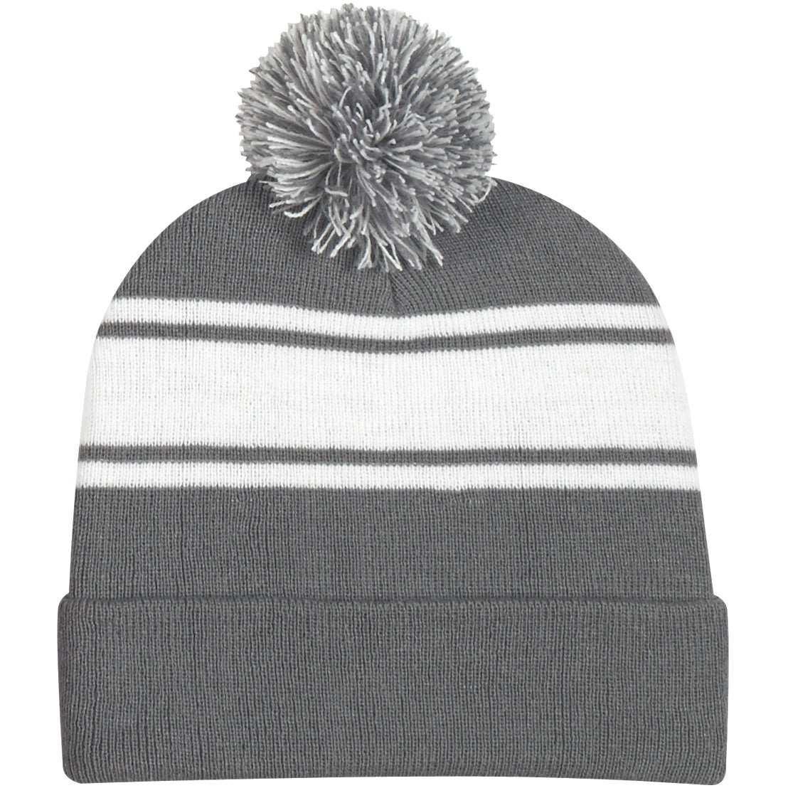 9284e1f8a73 Promotional Two-Tone Knit Pom Beanie With Cuffs with Custom Logo for  5.07  Ea.