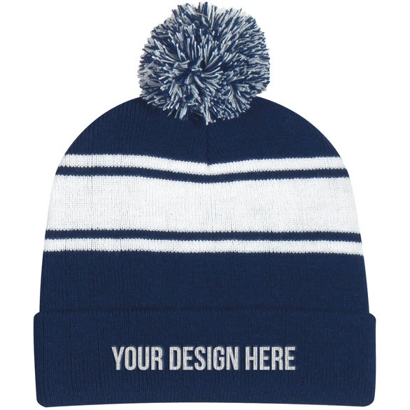 Navy / White Two-Tone Knit Pom Beanie with Cuff