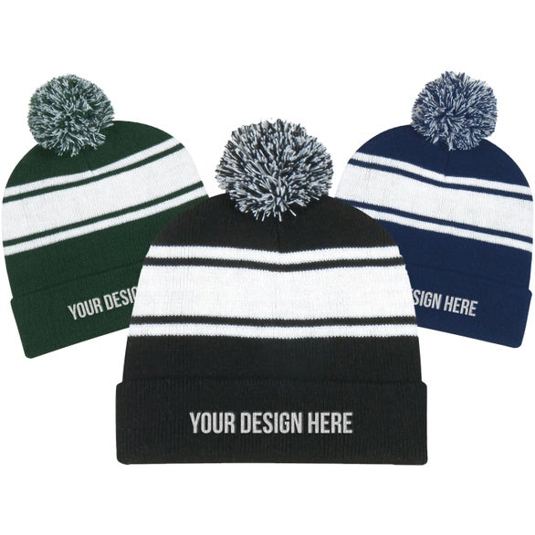 Two-Tone Knit Pom Beanie With Cuff ... 6f3291f5f68