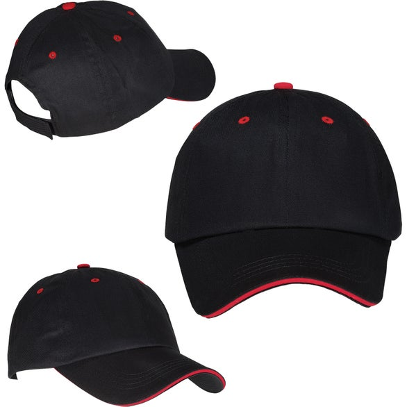 Black / Red Unstructured Sandwich Cap