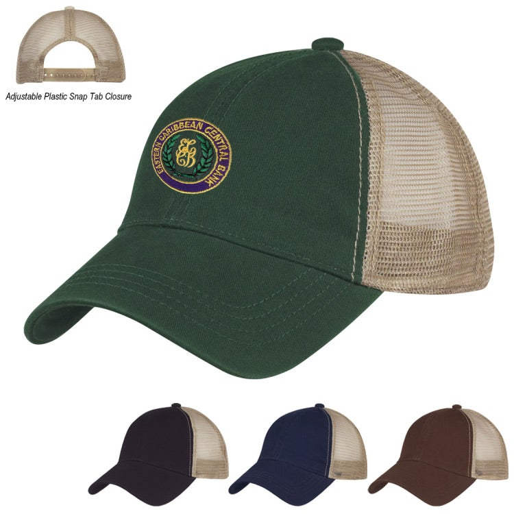 Promotional Washed Cotton Mesh Back Caps with Custom Logo for  7.19 Ea. b4b42138058