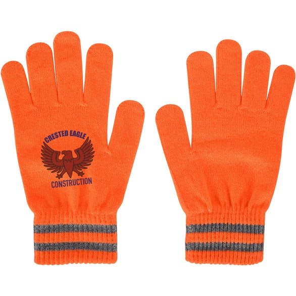 Neon Orange Reflective Safety Gloves