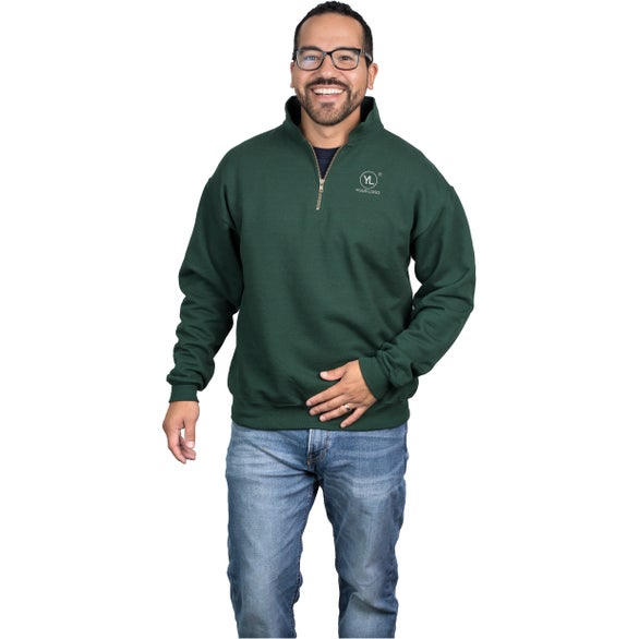 Forest Green JERZEES 1/4 Zip Sweatshirt w/ Cadet Collar