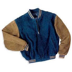 Logo Port Authority Sueded Leather Letterman Jacket