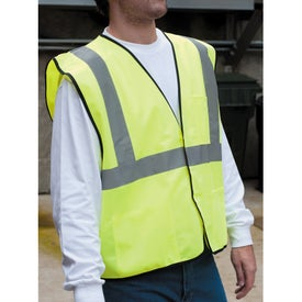Safety Works Hi-Viz Lime Green Class 2 Safety Vest Printed with Your Logo