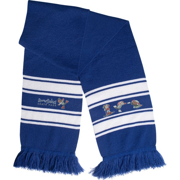 Reflex Blue / White Stripe Knit Scarf