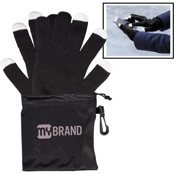 Black Touchscreen Friendly Gloves in Pouch