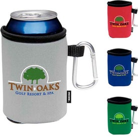 Printed Collapsible Koozie Can Kooler with Carabiner