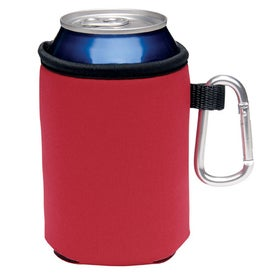 Collapsible Koozie Can Kooler with Carabiner Imprinted with Your Logo