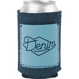 Denim Little Buddy Can Cooler With Neoprene Pocket