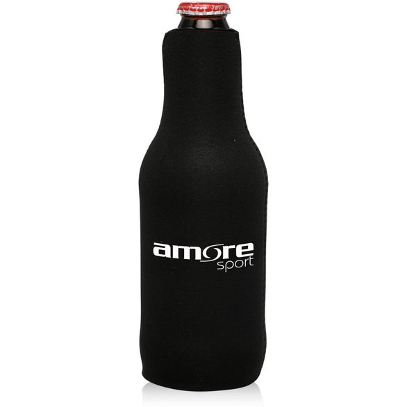 Black Neoprene Zippered Beer Bottle Coolie