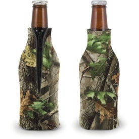 Customized Trademark Camo Zippered Bottle Coolie