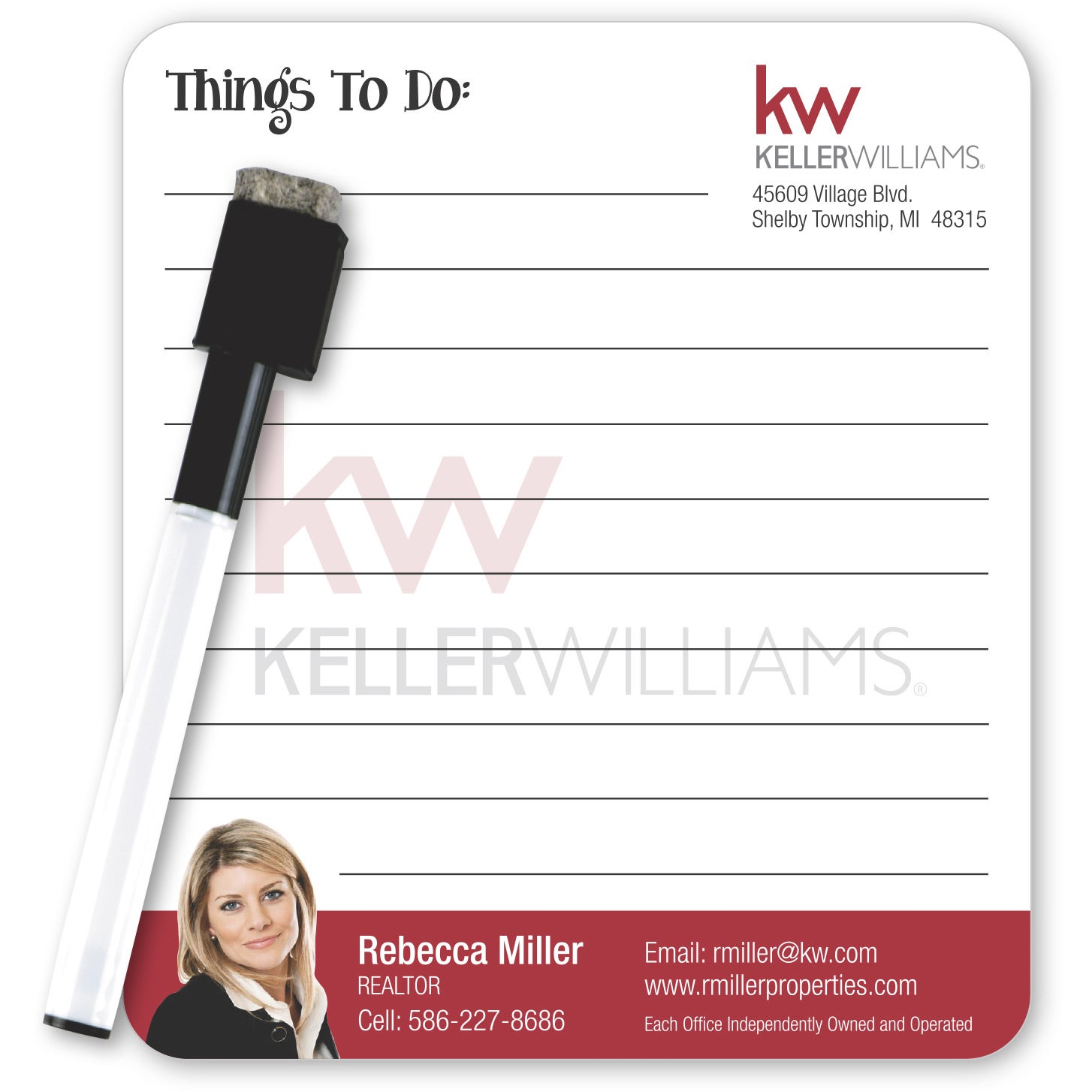 """Dry Erase Memo Magnet with Rounded Corners (0.020"""" Thick)"""