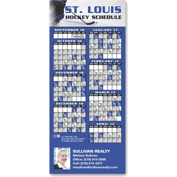 Full Color Imprint Hockey Schedule Magnet