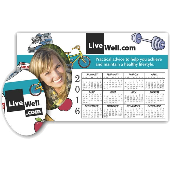 Picture Frame Calendar Magnet with Oval Cutout