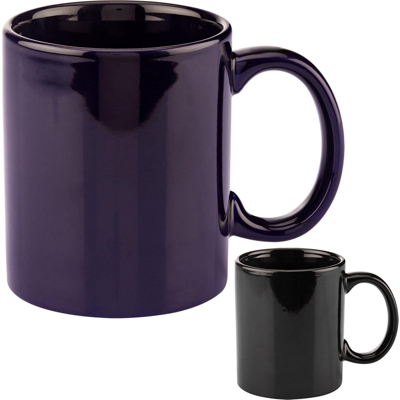 basic c handle ceramic mug  11 oz   colors