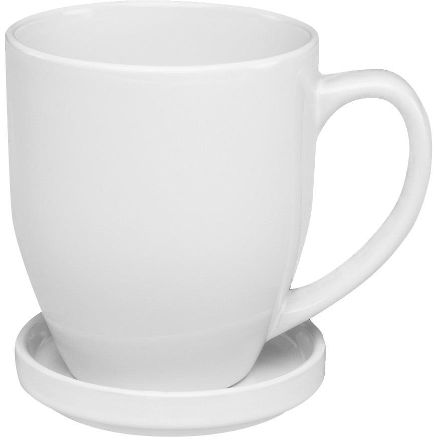 Bistro Coffee Mug With Coaster 16 Oz White
