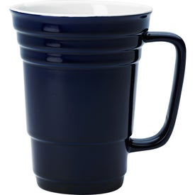 Ceramic Cup (14 Oz., Cobalt Blue and Red)